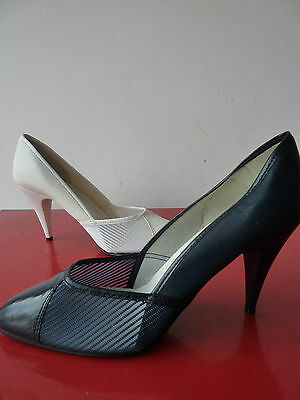 Escarpins ajouré Vintage 80's STiletto MAde In France Court Shoes DEadstock NEUF