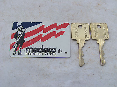 (2)  NEW  MEDECO  PATRIOT 6 PIN  KEYS with CARD