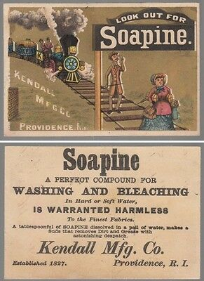 "[34135] 1880s ""LOOK OUT FOR SOAPINE"" (KENDALL CO.) RAILROAD TRAIN TRADE CARD"