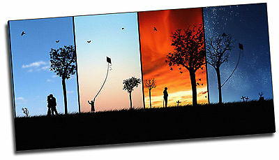 Four Seasons Wide Colourful Giclee Canvas Picture Art