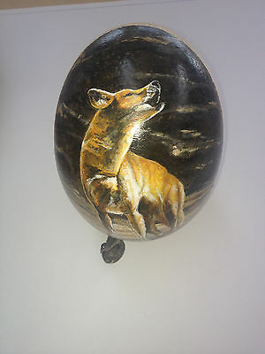 artist original Hand Painted wolf design Decorated Ostrich Egg.