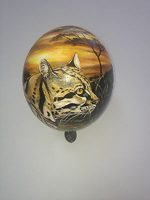 artist original Hand Painted cheetah design Decorated Ostrich Egg.
