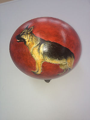 artist original Hand Painted german shepherd design Decorated Ostrich Egg.