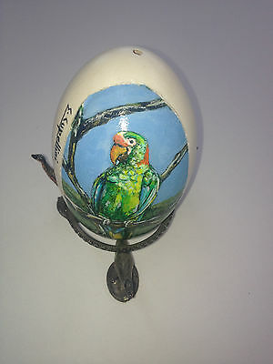 artist original Hand Painted exotic bird design Decorated duck Egg.