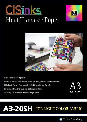 "20 Sheet Light Fabric Inkjet Heat Transfer Paper A4 (8.27"" x 11.7"") For Cotton"