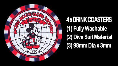 """4  x  MICKEY MOUSE GLOBE TROTTERS """"Reproduced from an Old Badge"""" DRINK COASTERS"""