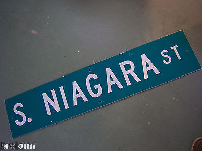 "Vintage ORIGINAL S. NIAGARA ST STREET SIGN 42"" X 9"" WHITE LETTERING ON GREEN"