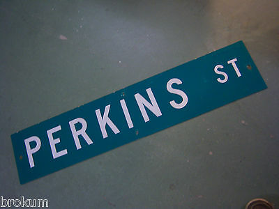 "Vintage ORIGINAL PERKINS ST STREET SIGN 42"" X 9"" WHITE LETTERING ON GREEN"