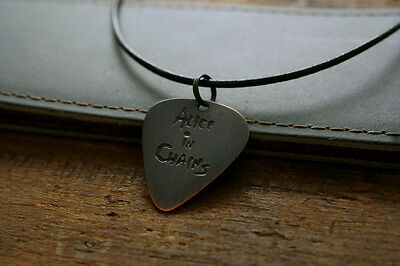 Hand Made Etched Copper Guitar Pick Necklace with Alice in Chains