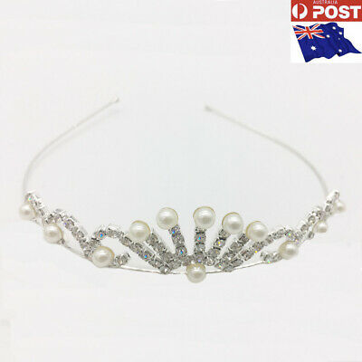 New Metal Tiara Headband Bridal Wedding Diamond Rhinestone Pearls Hair Crown-AU