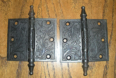 Victorian Hinges-Cast Iron-Old 1800's-Restored