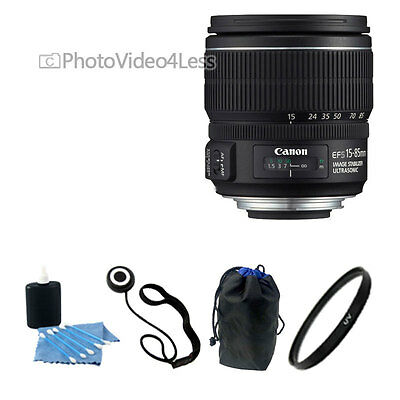USA Canon EF-S 15-85mm f/3.5-5.6 IS USM 4 Piece Lens Kit NEW