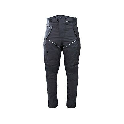 Men's Cordura Textile Black Waterproof Motorbike Motorcycle Over Trousers Pants