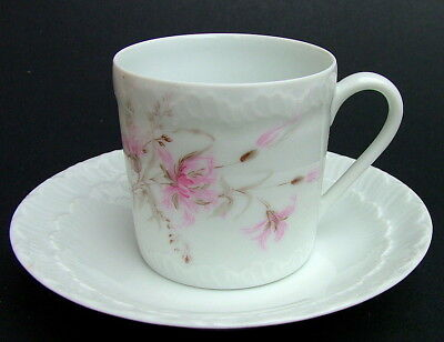 Limoges G Labesse Pink Flowers Pattern 100ml Coffee Cups & Saucers  Look in VGC