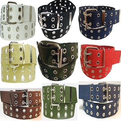 Mens/Womens 2 Holes Silver Grommet Canvas Belt   White, Black, Brown, Red,Green.
