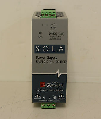 Sola SDN 2.5-24-100 RED  24VDC 2.5A  Power Supply  Input 115/230VAC  (8029)