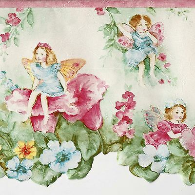 Cute Fairies & Big Flowers - ONLY $9 - Wallpaper Border 520