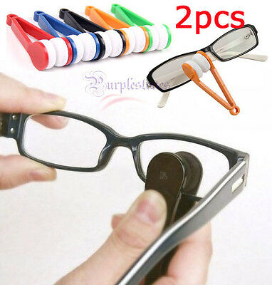 2PCS Mini Cute Glasses Eyeglass Sunglasses Spectacles Microfiber Cleaner Brush