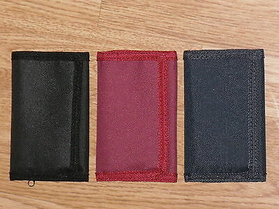 Polyester Trifold Velcro Wallet With 2 Card Slits Zip Pocket And Internal pocket