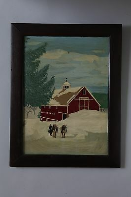 Early 20th Century Snow Scene Painting on Glass