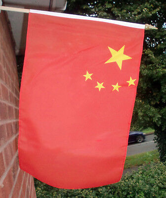 """CHINA LARGE HAND WAVING FLAG 18"""" X 12"""" WITH 24"""" POLE flags CHINESE BEIJING"""