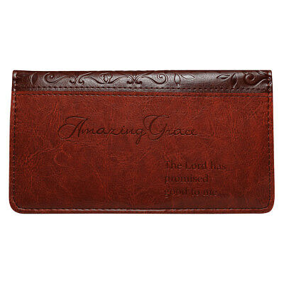 AMAZING GRACE Checkbook Cover Brown Faux Leather Christian Religion free shippin