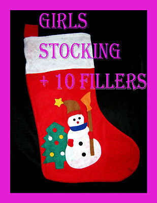 Kids Filled Christmas Stocking + 10 Party Novelty Fillers Toys New GIRLS