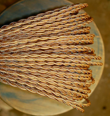 Blonde (Light Gold) Twisted Rayon Covered Wire, Vintage Style Cloth Lamp Cord