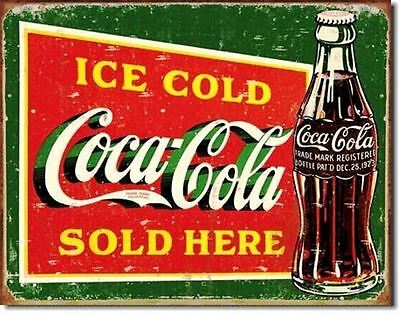 Coca Cola COKE  Ice Cold Green Metal Ad Tin Sign rs3931
