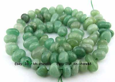 6-10mm Natural Green Aventurine Baroque Nugget Gemstone Beads 15.5''