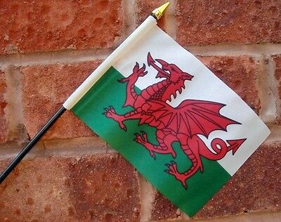 "WALES HAND WAVING FLAG small 6"" x 4"" with 10"" pole WELSH DRAGON CARDIFF SWANSEA"