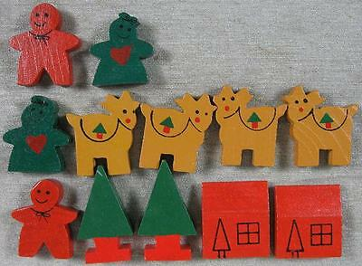 Lot of 12 Vintage Christmas Village Set~All Wood