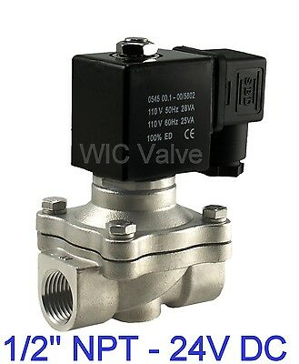 """1/2"""" Inch Stainless Electric Air Water Gas Solenoid Valve NC 24V DC Viton Seal"""