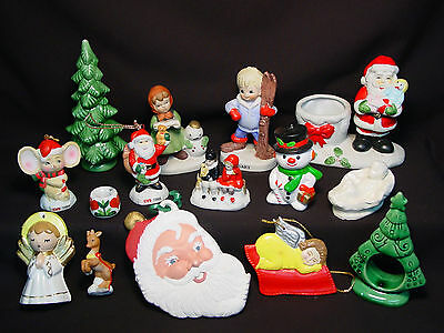 Lot of 15 Old Vtg Xmas Tree Ornament Ceramic Santa Angel Snowman Candle Holder