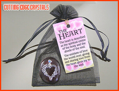 Heart & Flowers Wishing Stone / Paperweight / Pewter / Charm / Good Luck