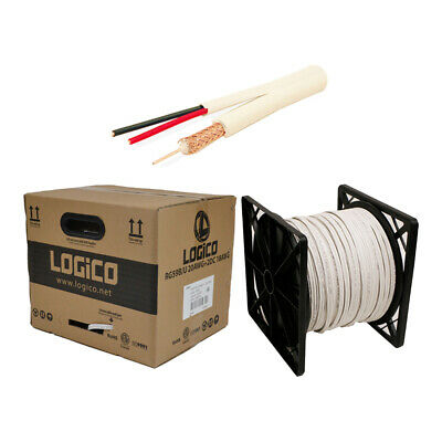 RG59 Siamese Coaxial Cable 1000ft 20AWG+18/2AWG CCTV Security Camera Wire White