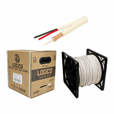 RG59 Siamese Coaxial Cable 500ft 20AWG+18/2AWG CCTV Security Camera Wire White