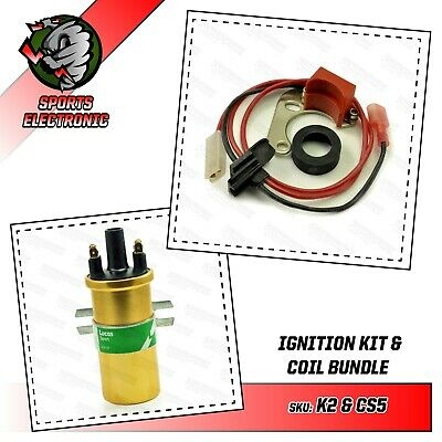 Electronic Ignition & Lucas Gold Sports Coil fits Lucas 23D 25D on Mini MGB etc