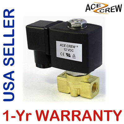 VITON 1/4 inch 12V DC VDC Brass Solenoid Valve NPT Gas Water Air Normally Closed