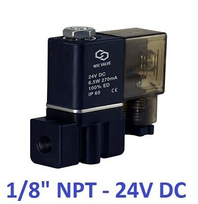 1/8 Inch Pneumatic Plastic Electric Air Gas Water Solenoid Valve NC  24V DC DIN