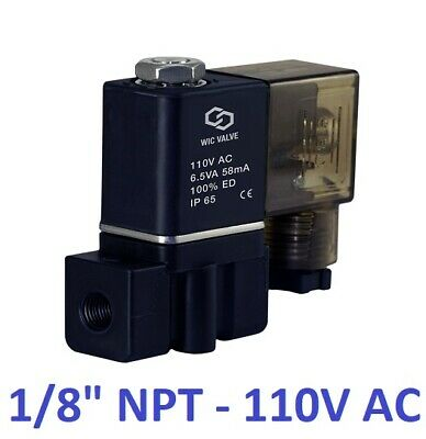 "1/8"" Inch Plastic Electric Air Gas Water Solenoid Valve NC 110/120V AC DIN"