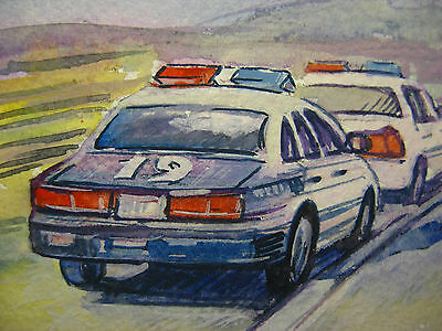 ORIG ART AMERICAN POLICE CAR FORD CROWN VICTORIA FLASH LIGHTS ACEO CARD 2,5x3,5