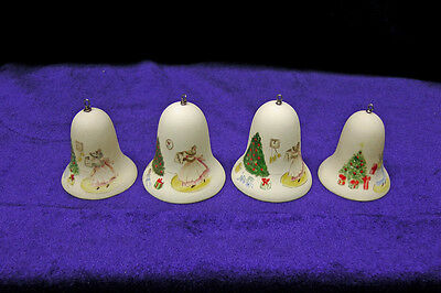 Vintage Hand Painted Bisque Christmas Bells With Mice on Each - Set of Four