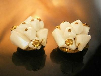 XX Pretty Vintage 1950's Signed W.Germany Thermoset Cluster Earrings   1543d