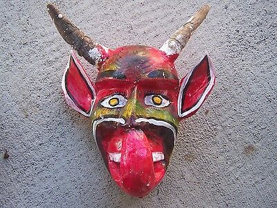 Medium Devil Mask with Real Horns #10 - Guerrero, Mexico