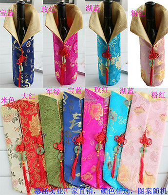 Wholesale20pcs Chinese Handmade Vintage Style Silk Wine Bottle Cover With Charms