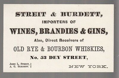 [34312] LATE 1800s STREIT & BURDETT WINES & WHISKIES (DEY ST., NYC) CALLING CARD
