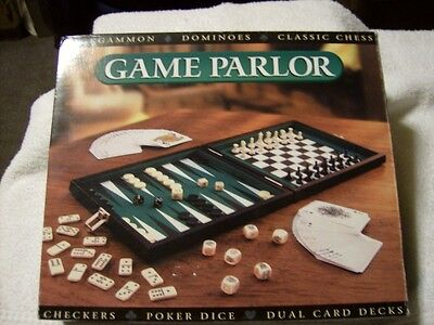 Game Parlor 6 Games In 1 Backgammon, Dominoes, Checkers Etc. New / Free Shipping
