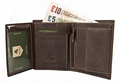 Visconti Mens Distressed Real Leather Wallet Coin Pocket Genuine Boxed RIFLE 709