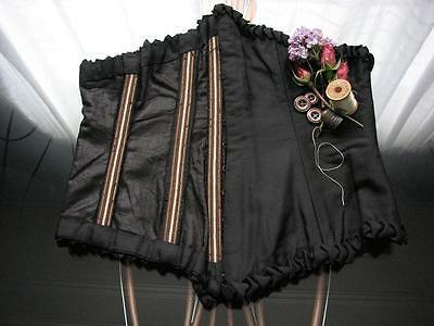 Antique 1800's Vintage Victorian Black Silk Swiss Waist~Mattress Ticking